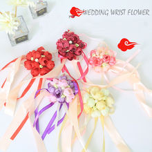 Искусственный бутоньерки сестры рука об руку цветы невесты для