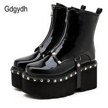 Gdgydh/пикантные ботинки на платформе с заклепками; Готическая