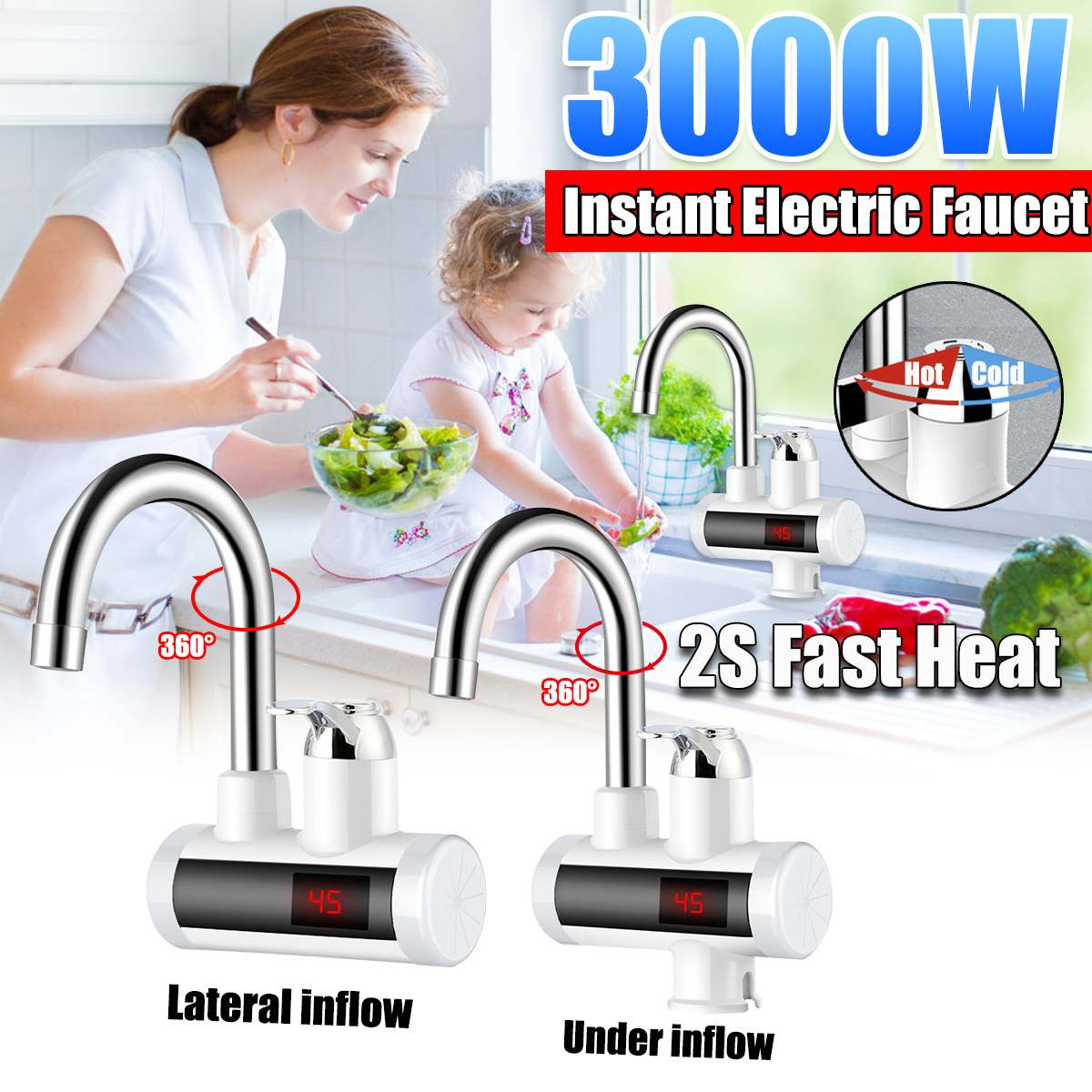 2 Types 360 Rotated 3000W Instant Electric Faucet Tap Hot Water-Heater LED Display Bathroom Kitchen Hot Water-Heater