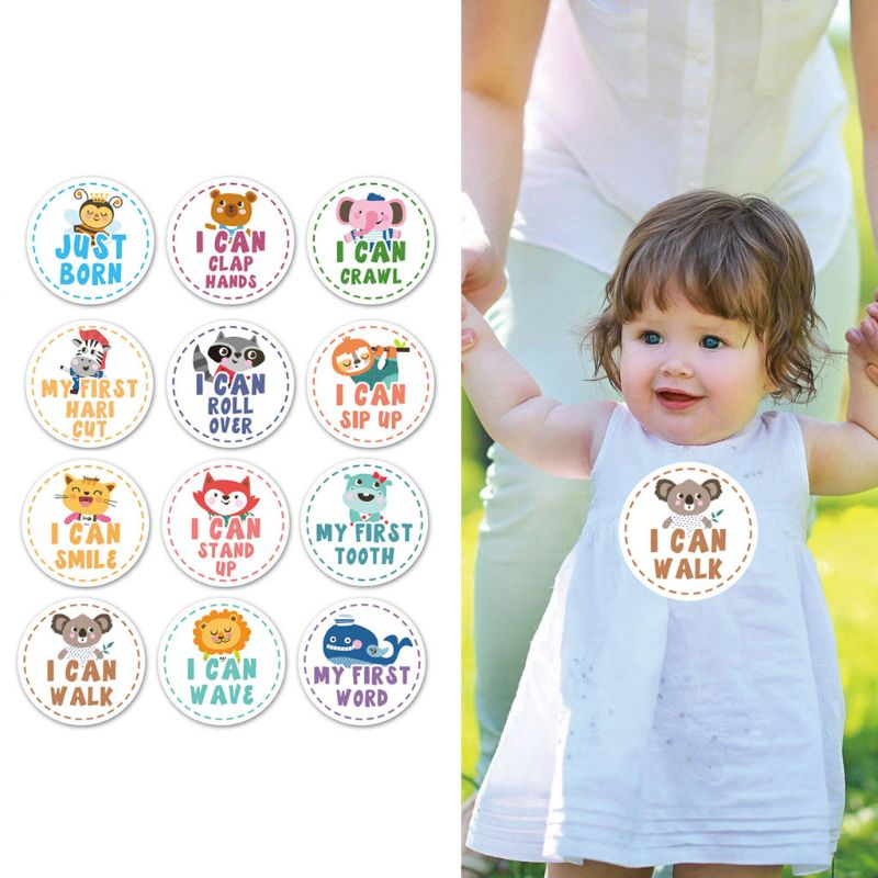 Baby Monthly Milestone Stickers Shower Gift Scrapbook Photo Memory Keepsake