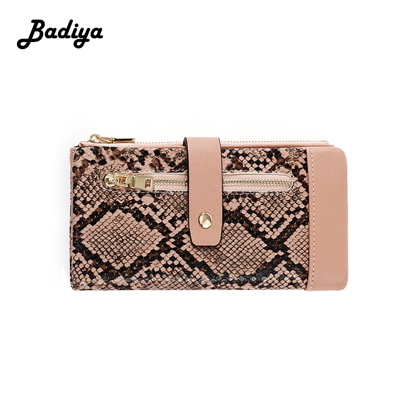 Vintage Women Wallets PU Leather Personlity Serpentine Long Hasp Zipper Phone Coin Purse Fashion Card Holder Ladies Clutch Bag
