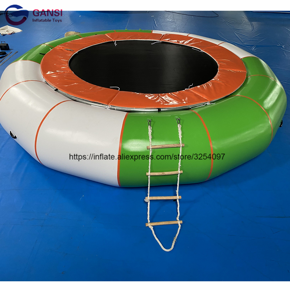 Water play equipment jumping trampoline 5m inflatable water trampoline with steel