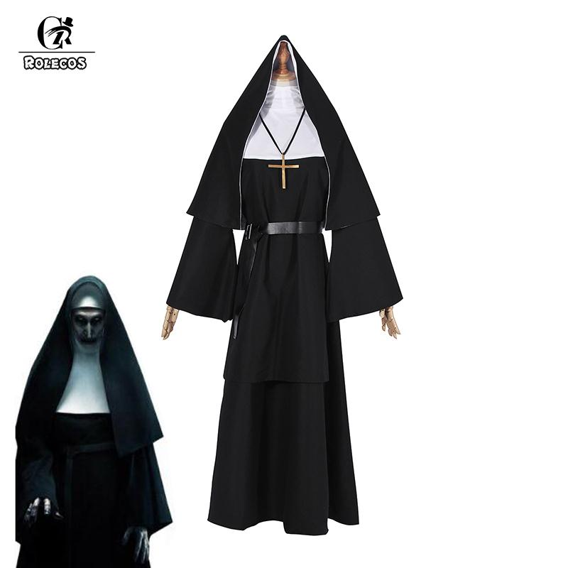 ROLECOS The Nun Cosplay Costume Halloween Costume For Women The Conjuring 2 Cosplay Long Dress Adult Horror Ghost Costume