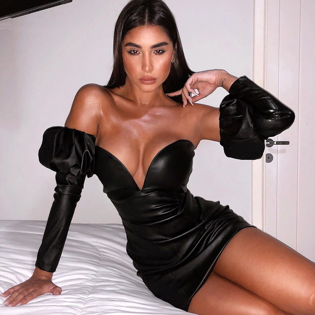 Adyce 2020 New Winter Sexy Black V Neck Off Shoulder Long Sleeve Party Dress Women PU Leather Club Evening Runway Mini Dresses