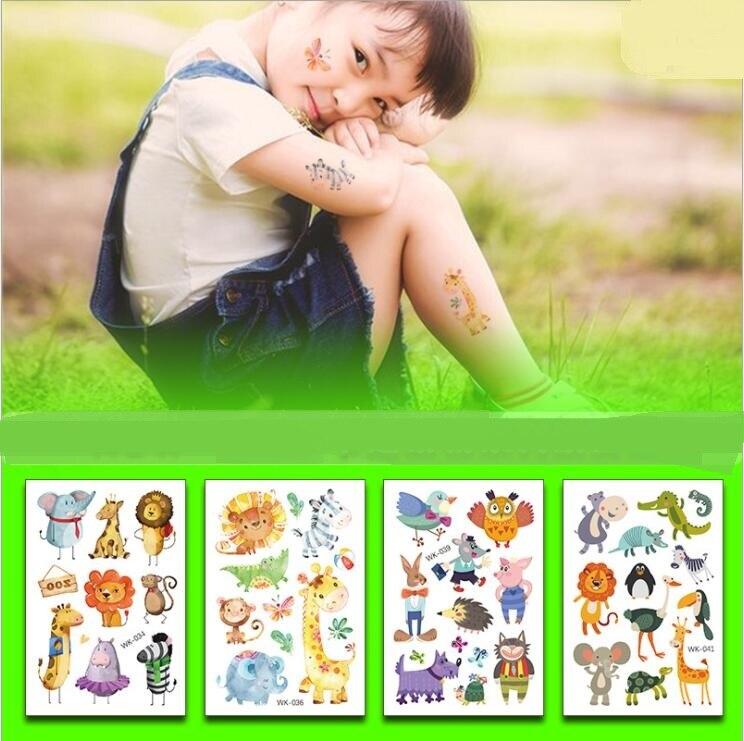 5 шт. Временная тату-наклейка с изображением мультяшных животных, тигра, фламинго, милое боди-арт, водостойкая тату-наклейка для детей на