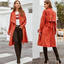 2019 Long Trench Coat Women Plus Size Casual Fashion Autumn Solid Lapel Sashes E