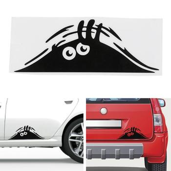 Funny Creative 3D Big Eyes Car Decal Black Sticker Peeking Monster 19x7CM For Car Decoration Auto Products image