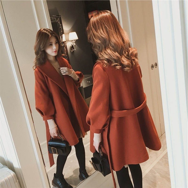 Winter Autumn Wool Coat Women 2019 Casual <font><b>Belt</b></font> Woolen Jackets Elegant Office Lady Long Sleeve Outerwear Abrigos Mujer Invierno image