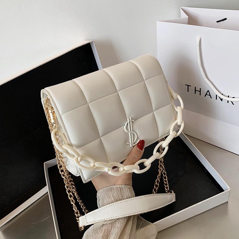 Элегантная женская квадратная сумка Кроссбоди 2020, модная новая дизайнерская сумка из искусственной кожи, Повседневная шикарная сумка мессенджер на цепочке, сумка на плечо|Сумки с ручками|   | АлиЭкспресс