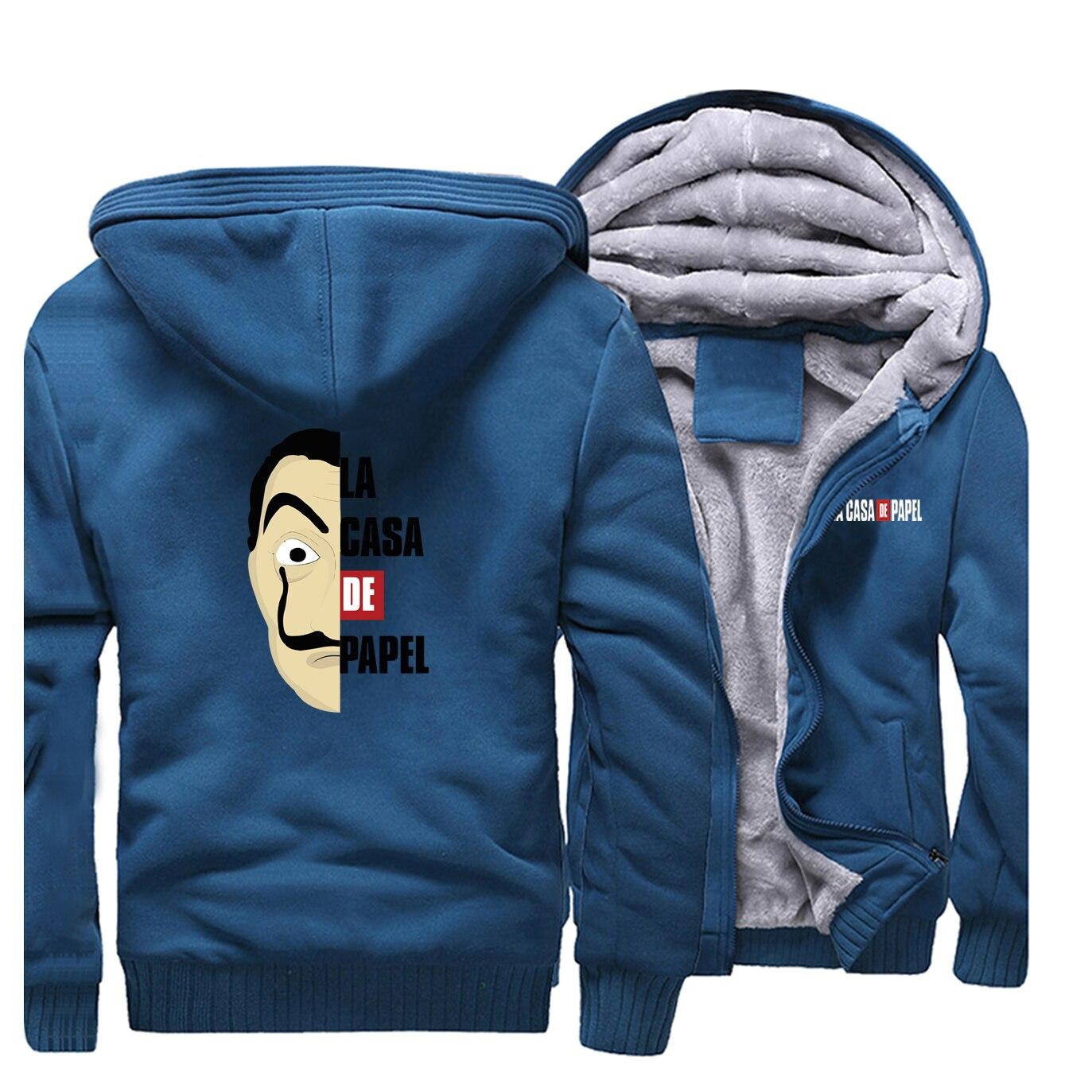 La Casa De Papel Hoodie Sweatshirt Winter Costume Money Heist Dali Robbery Paper House Anime Hoodie Jacket Coat Men Thicken Tops