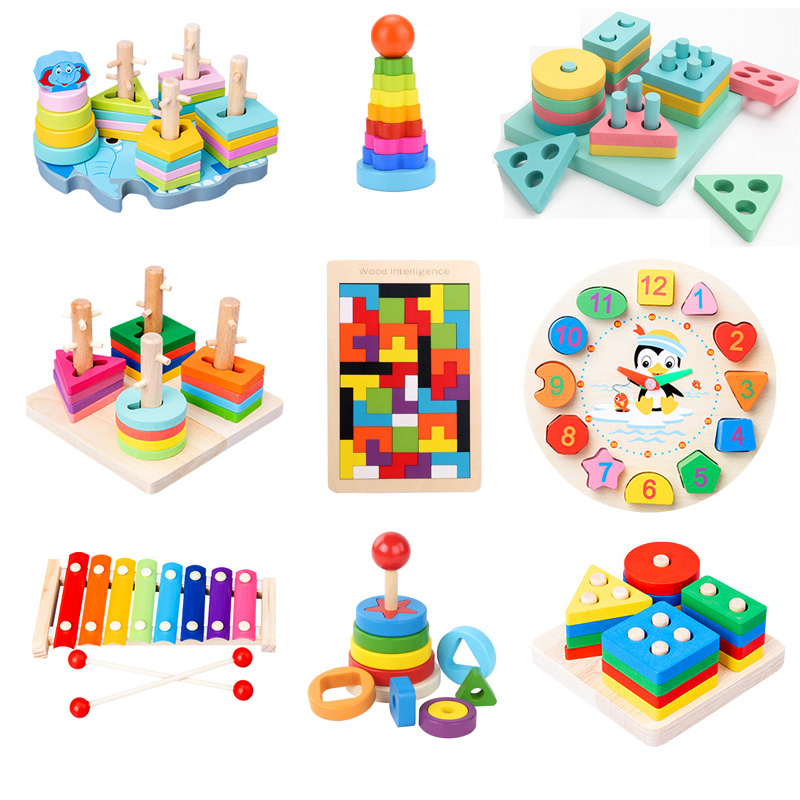HOT SALE Colorful Wooden Blocks Baby Toys Music Baby Rattles Toys Graphic Cognition Early Educational Toys For Baby 0-12 Months
