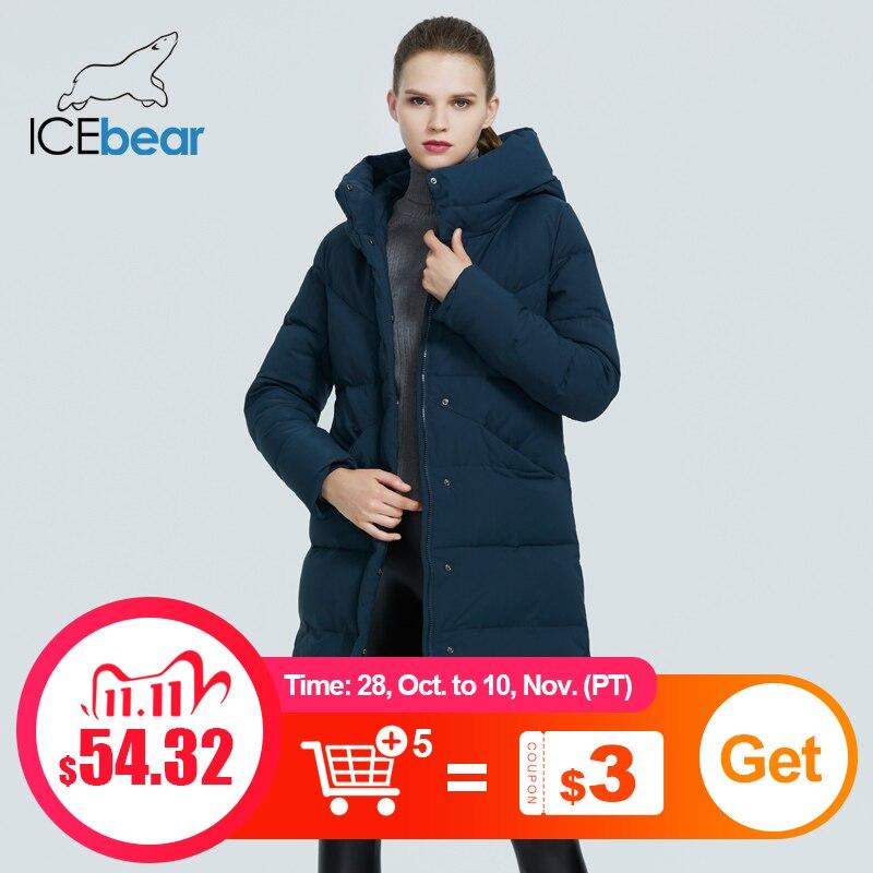 ICEbear 2020 новая повседневная куртка с капюшоном женская зимняя толстая хлопковая ветрозащитная и теплая женская одежда GWD20150D|Парки| | АлиЭкспресс