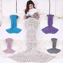 CAMMITEVER 180*90cm Grande Sirena Coda Coperta Crochet Della Sirena Coperta per Adulti, Morbida Tutte Le Stagioni Coperte A Pelo