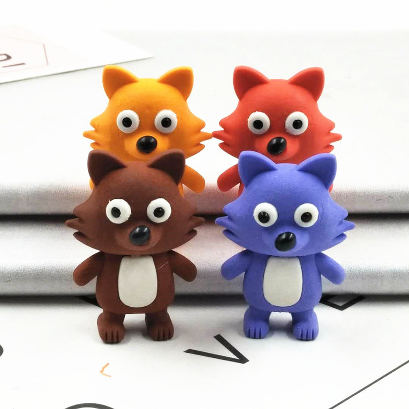 1PC Creative Fox Erasers Cute Rubber Erasers Kawaii Pencil Erasers For Kids Back To School Gifts Office Supplies Stationery