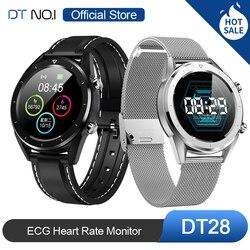 Venta caliente DTNO. I DT n. ° 1 DT28 ECG Monitor de frecuencia cardíaca reloj inteligente IP68 rastreador de actividad impermeable podómetro de presión arterial moda negocios elegante deporte Smartwatch hombres