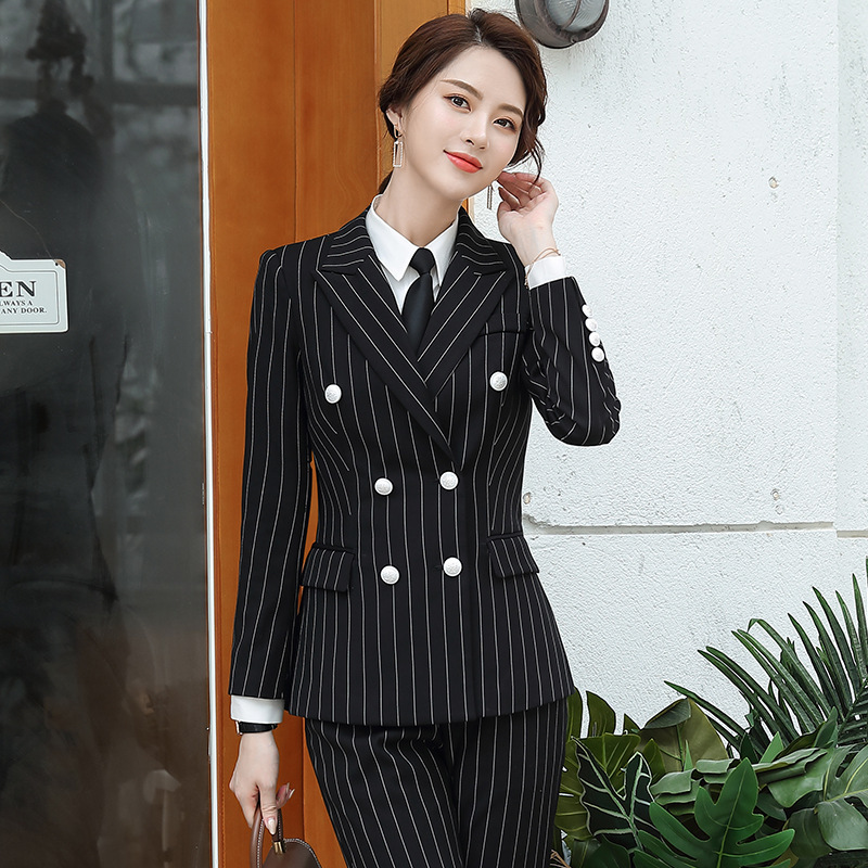 Large Size S-4XL Women's Suits Autumn New Professional Full Sleeve Striped Black Blazer Ladies' Office Pants Suit Two-piece Set