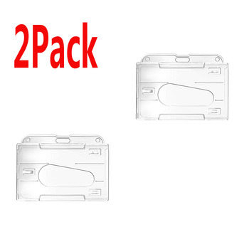 2 Pack Horizontal Transparent 2-3 ID Card Holder Hard Plastic Credit Card Holder Rigid ID Badge Protector Office School Supplier 1