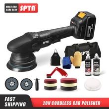SPTA 20V Cordless Car Polisher 15mm Orbit 3000 5000rpm Variable Speed Polishing Machine With 2 4000Ahm Battery For Car Plishing