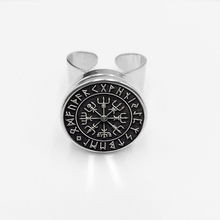 initial / Vegvisir Viking Compass Jewellery Glass Cabo Button Ring for Men and Women with Open Silver Jewelry.