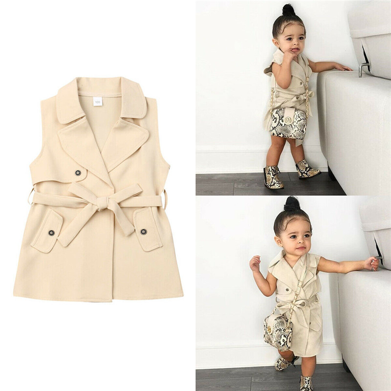 PUDCOCO Toddler Kids Baby Girls Fashion Sleeveless Trench Coat Winter Jacket Windbreaker Outerwear Clothes 2-7Y