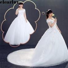 Wedding Dress White Boat Neck Wedding Gown T280 Free Shipping Elegant Vestido De Novia Plus Size Embroidered Flowers Bridal Gown plus embroidered fringe tie neck dress