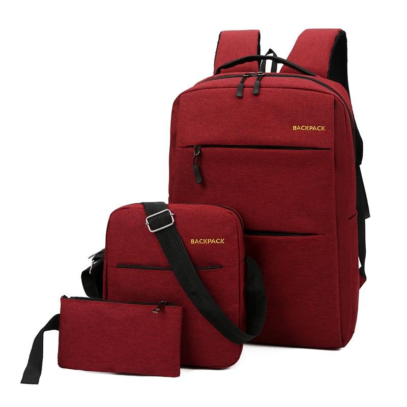 2020 Fashion Backpacks Usb Men Laptop Backpack Book Backbag 3 Pcs Travel Daypacks Male School Bookbag Mochila Backpack Red Grey