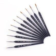 Minyatür boya fırça seti profesyonel naylon fırça akrilik boyama ince kanca hattı kalem sanat malzemeleri el boyalı A3