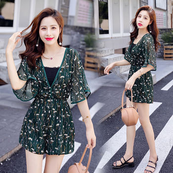 Summer 2020 Women New Jumpsuit Female Holiday Half Sleeve V-Neck Floral Print Playsuits High Waist Chiffon Beach Rompers L103
