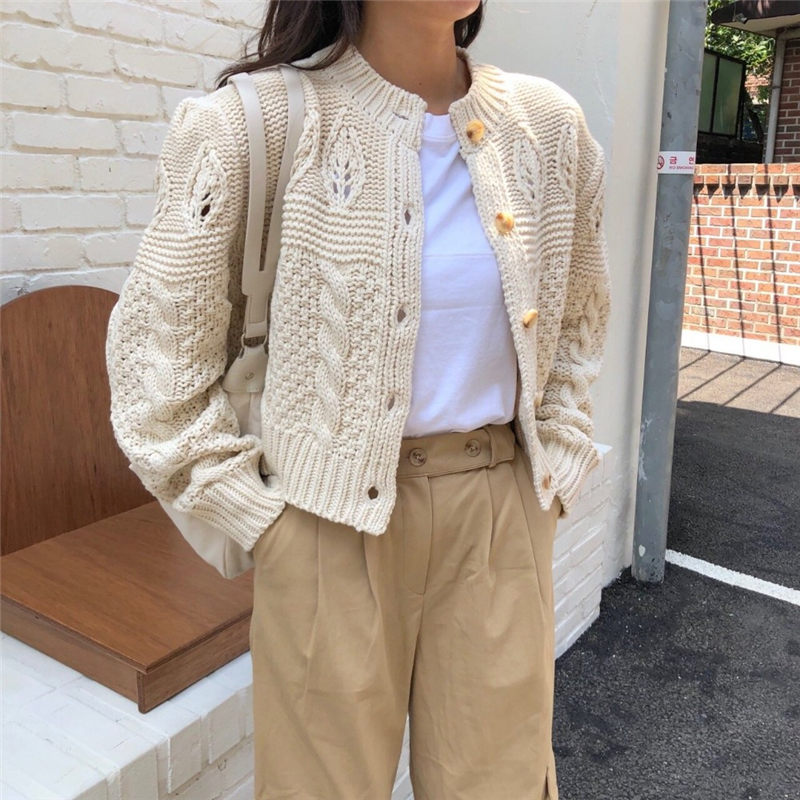 HziriP Students Stylish 2019 Thicken Casual Twisted Autumn Cardigans All-Match Full-Sleeved Brief Women Basic Short Sweaters