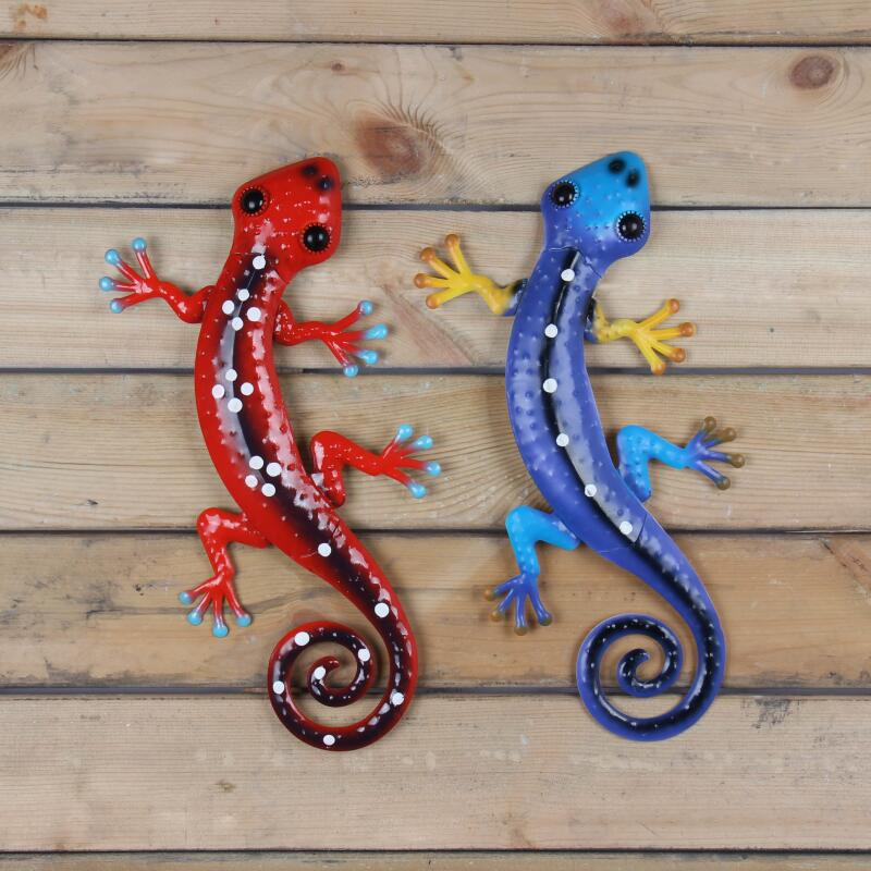 Image 2 - Liffy Metal Lizard Wall Art Outdoor Gardening Decoration for Garden Statues Animals Glass Painting Ornaments for Home Decor-in Garden Statues & Sculptures from Home & Garden