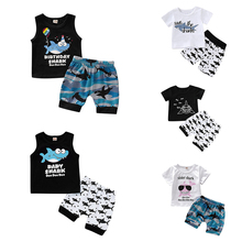 Breathable Baby Boy Clothes Summer Set Cotton 2Pcs Shark Print Tops Tee+Cartoon Short Pant Casual Kids Clothes For Boy 0-2T D35 format kids boy 16