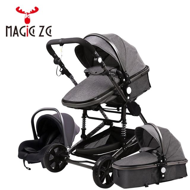 Carrinho de criança 3 em 1 portátil viagem carrinho de bebê dobrável carrinhos quadro alumínio alta paisagem carro para recém-nascidos babyboomer poussette 1