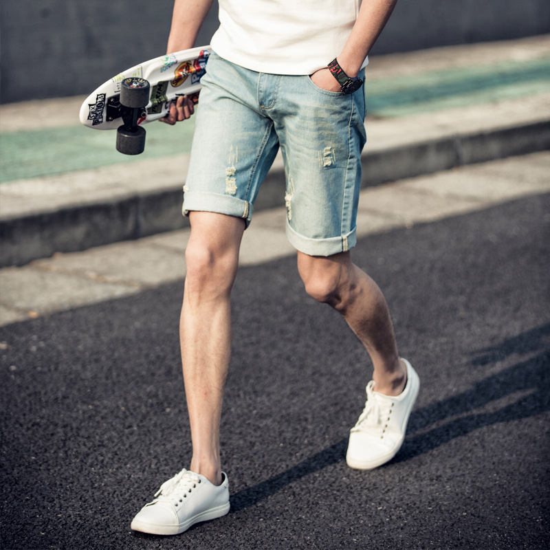 2016 Spring And Summer New Style MEN'S Jeans Shorts Thin Slim Fit Short Shorts Versitile Fashion Jeans Fashion Man