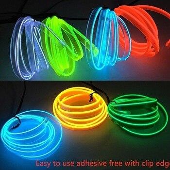 1 m /2 m /3 m /4 m /5 m LED con enchufe de encendedor de coche cable suave cuerda de coser borde luces decorativas de neón