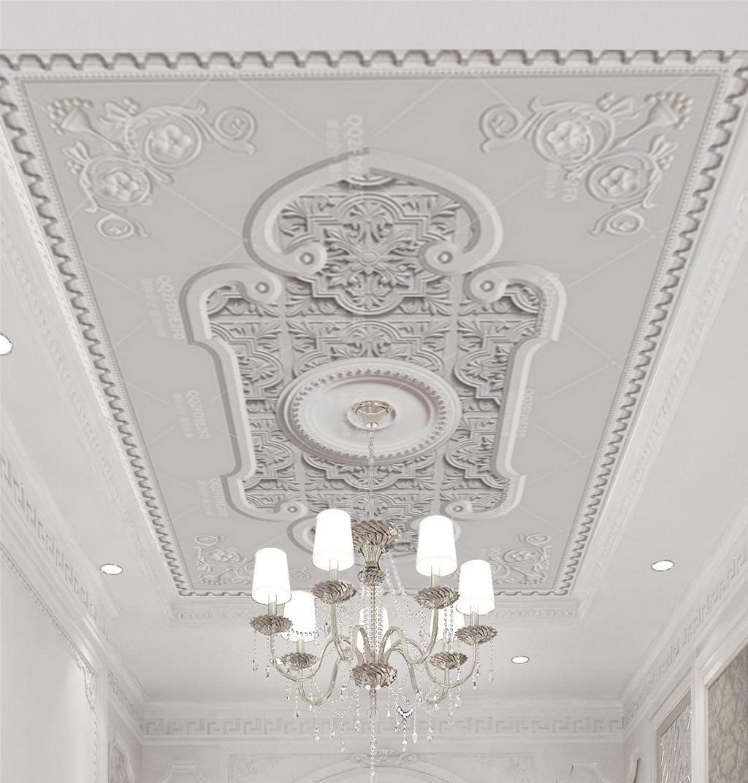 5D European Style Ceiling Wallpaper Living Room Bedroom Hotel Room Roof Mural 3D Wallpaper Imitation Gypsum