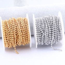 10 Meters/Roll 1.5mm 2.0mm 2.4mm 3.0mm Ball Chain Diy Gold Plated Stainless Steel For Necklace Jewelry Making