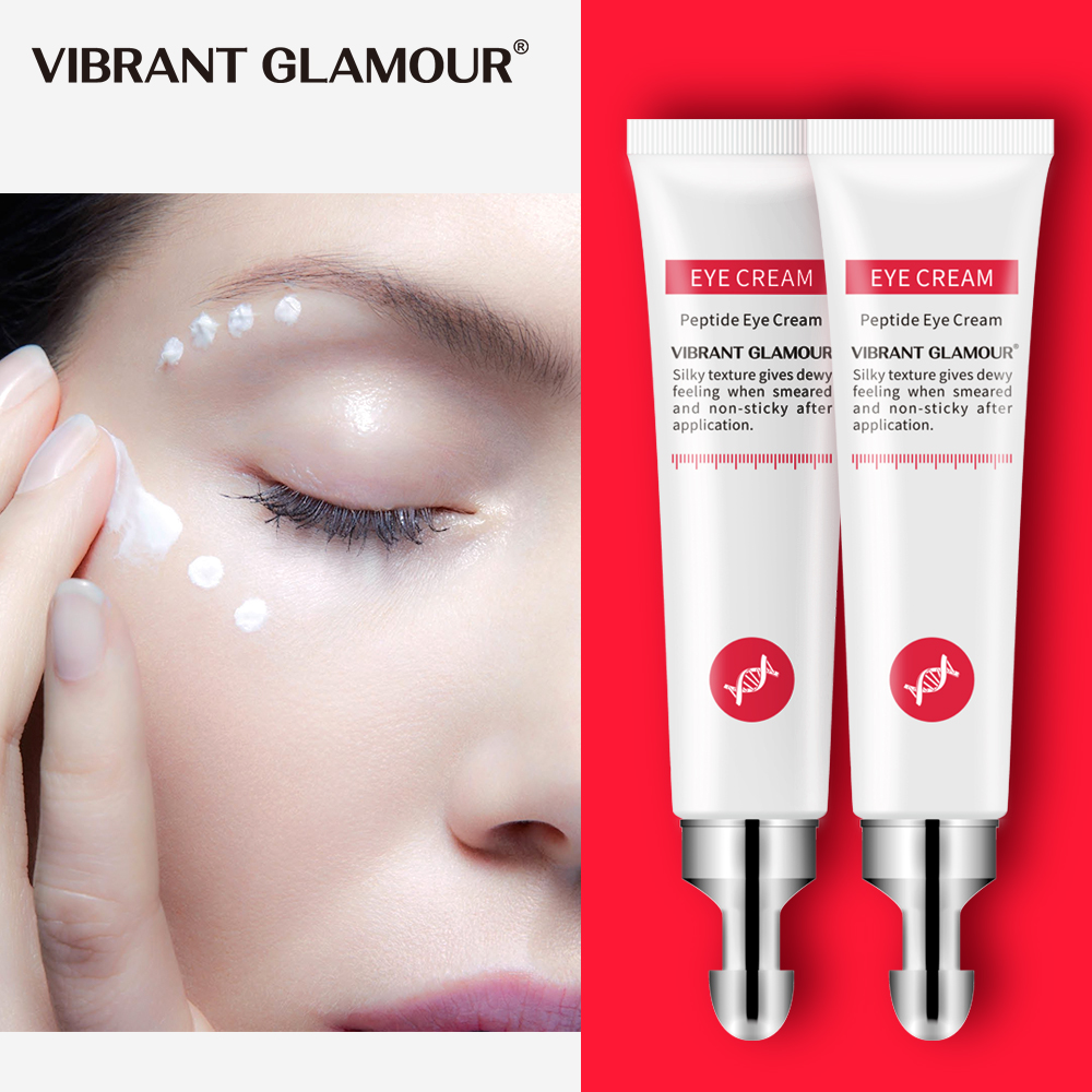 VIBRANT GLAMOUR 2Pcs Peptide Collagen Eye Cream Anti-Wrinkle Anti-Aging Serum Remove Dark Circle Against Puffiness Bag Skin Care