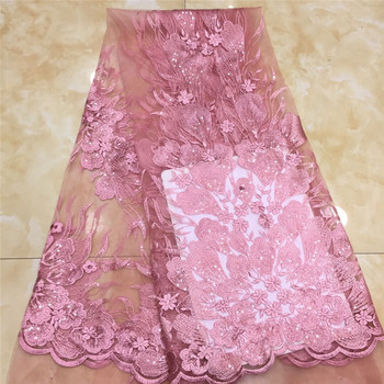 pink Latest African Lace Fabric High Quality French Net Embroidery Blue Sequins Tulle Lace Fabric For Nigerian Party Dress