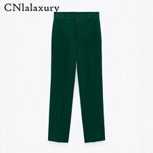 CNlalaxury-Pantalones rectos con bolsillos laterales para Mujer, ropa de oficina a la moda, Vintage, de cintura alta, con cremallera, 2021