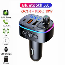 2021 bluetooth 5.0 fm transmissor carro mp3 player sem fio kit de carro handsfree qc3.0 + pd dupla usb carga rápida 7-color led retroiluminado