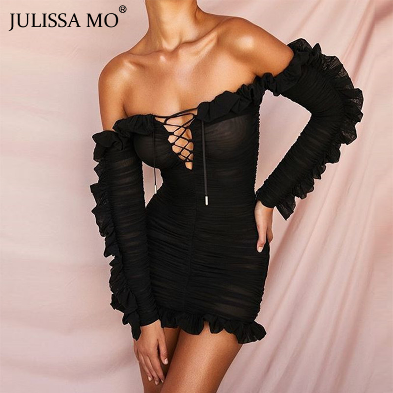 JULISSA MO Double Layers Mesh Bodycon Dress Autumn Sexy Off Shoulder Ruffles Sleeve Dress Women Fashion Short Club Party Dresses