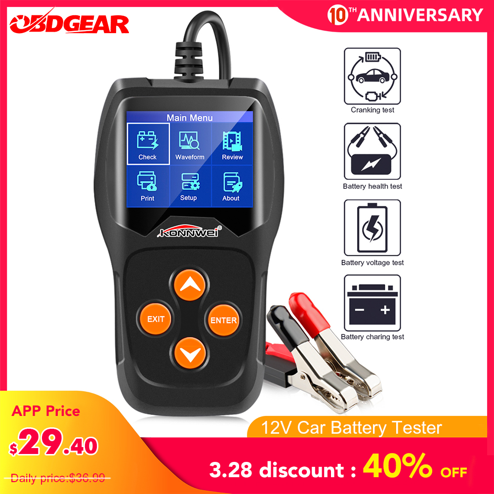 KONNWEI KW600 Car Battery Tester 12V Analyzer 100 To 2000CCA Test Battery Health/Faults 12V Digital Color Screen Auto Diagnostic