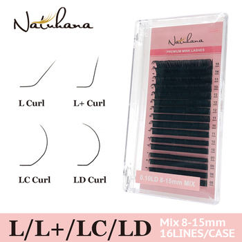 NATUHANA L L+ LC LD Curl 16rows/tray 8~15mm Individual Classic Eyelash Extension Mink Eyelashes Artificial False Lashes