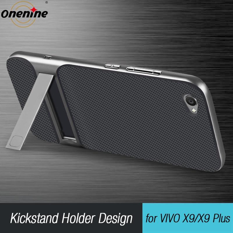 3D Kickstand բջջային հեռախոսի պատյան VIVO X9 5.5 Case հիբրիդ ծածկով TPU + PC 360 պաշտպանության սիլիկոնային զրահ ՝ VIVO X9 Plus կոկիկ պայուսակի համար