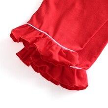 Ropa para niños pijamas rojos lindos de algodón 100% de invierno con volantes para bebé niña ropa de casa boutique de Navidad pjs de manga completa