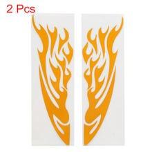 Uxcell 2 pièces Orange flamme Design voiture moto autocollant réfléchissant décor 24x6cm