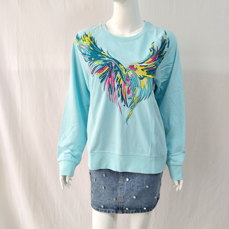 Women Hoodie Autumn /Winter New Women's Cotton Embroidered Embroidered Washed Sweatshirt Top