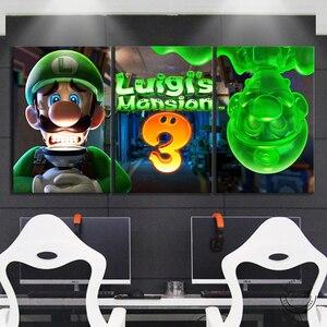 Image 2 - Luigis Mansion 3 Game Poster Canvas Schilderij Home Decor Wall Art 3 Panelen Mario Bros Luigi Cartoon Muur Foto Super smash Bros