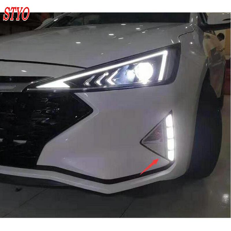 STYO Car LED Light Guide Daytime Running Lights DRL LED Fog Lamp For Hyundai Elantra Avante 2019 2020