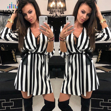 VOZRO Suit-dress Stripe V Lead Chalaza Leisure Time Sexy Party Autumn White Black Dress Women Vestido Dresses Clothes Shirt